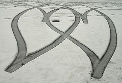 Interlocking hearts in snow