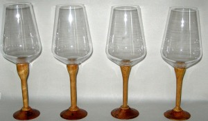 Wooden stemmed glasses.  Click here to see more
